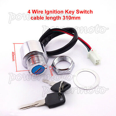 4 Wire ATV Ignition Key Switch Fit Dirt Pit Bike Scooter Moped ATV Buggy Go Kart