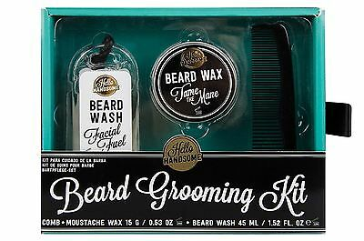 NPW Hello Handsome Men's Grooming Kit Beard Wash Wax Comb in Gift Box