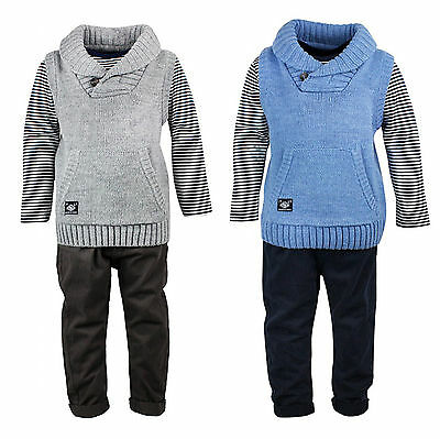 Boys Toddler 3 Piece Knit Jumper Stripe Top & Chino Trousers Set 2 to 4 Years