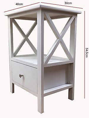 Wooden Bedside Cabinet Table Nightstand with 1 Drawer, Shelf and silver knob