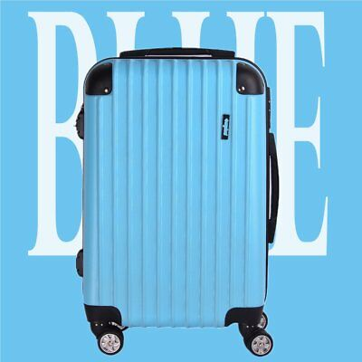 Set of 3 piece Travel Luggage 4 Wheel Trolleys Suitcase Bag Hard Shell Blue