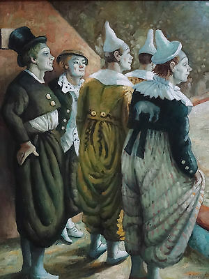 Follower of Dame Laura Knight OLD TIME CLOWNS,  ORIGINAL EARLY 20th OIL PAINTING