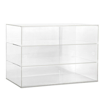 3 Tier Clear Acrylic Display Cabinet with Sliding Door Retail Case Shop Fitting