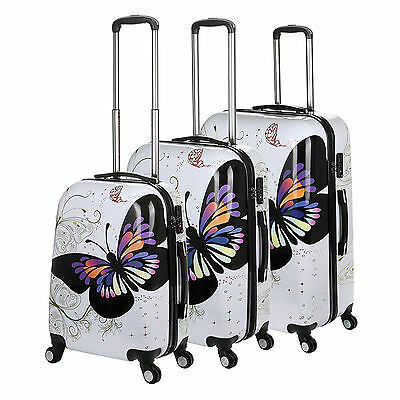 Hard Shell case 4 Wheel Spinner Cabin Suitcase with Butterfly detail PC CarryOn