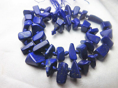AAA Grade 100% Natural Matte Finish Lapiz Nuggets Beads Strand Necklace