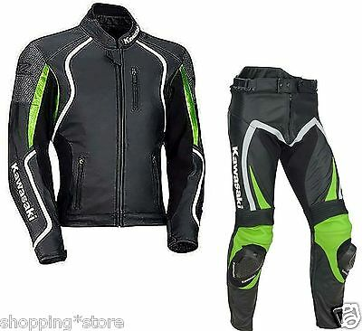 Kawasaki Motorcycle Leather Suit Motorbike Racing Biker Leather Jacket Trouser