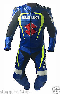 Suzuki Motorcycle Leather Suit Men's Motorbike Racing Leather Jacket Trouser