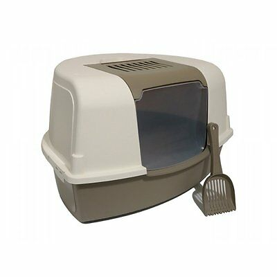 Rosewood Ariel Pet, X Large Corner Cat Litter Tray/Toilet in Mushroom