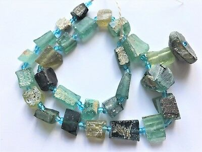 Genuine Beautiful  Color Roman Glass Tubes Beads 1000-1500Yrs Old RG1003