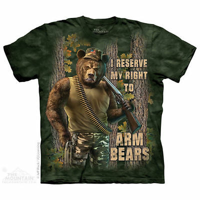 2nd Second Amendment T Shirt The Mountain Bear Arms Shot Gun America NRA Tee
