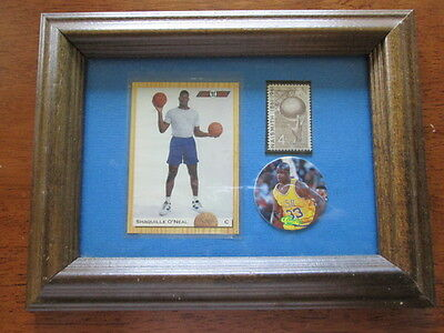 Shaquille O'Neal Plaque w/ Players Card 1992 Naismith Stamp Popper Framed Glass