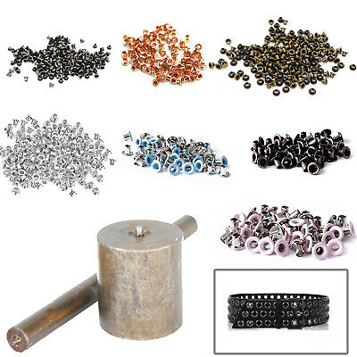 Die Set + Hole Punch Tool + 100 Pcs 2mm Eyelets Grommets for Banners Arts Crafts