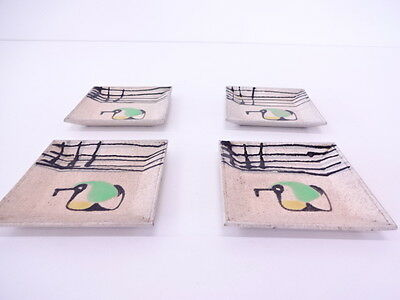 Beautiful Japanese Tea Ceremony / Square Plate / Set Of 4 / Iroe / Artist Signed
