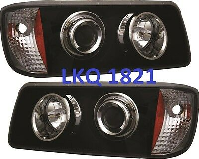 Freightliner Fld120 Projector Headlights A06-15605-006 &007  Black Pair 40542&43