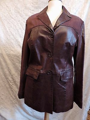 Veste Cuir Bordeaux Oakwood  T 40/42 /vintage  Oxblood Leather Jacket Ref 328