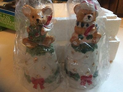 Ceramic Figurine Christmas Bells Mouse & Bear