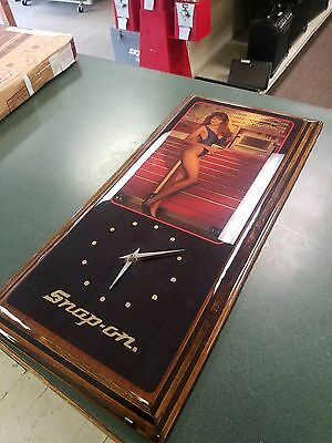Vintage Snap On Tools Brunette Pin-Up Girl Wood Wall Clock