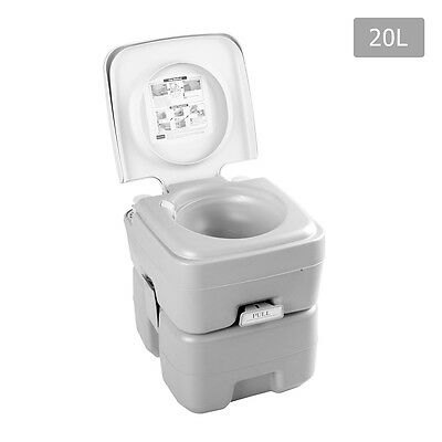 Weisshorn 20L Portable Camping Toilet W/ Injection Piston Design Grey