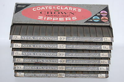 Coats & Clark's Crown Zippers Antique Store Display Folding Vintage Sewing Room