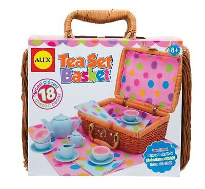 ALEX Toys - Pretend Play Dishes Kids Tea Picnic Basket Toy (18 pcs) - Brand New!