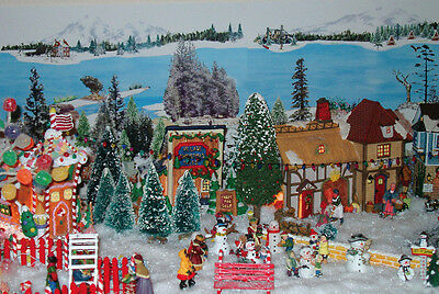 Christmas village backdrop model train snow Dept 56