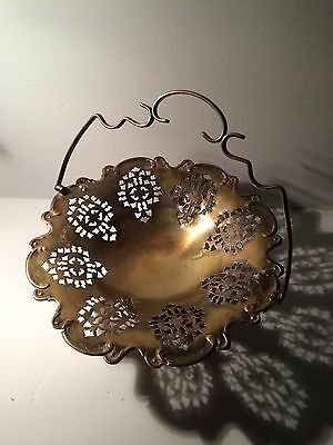Vintage International Silver Silver Plated Cut Design Brides Basket with Handle