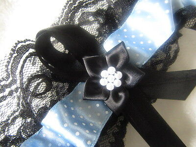 Dainty Dot Blue Ribbon Wedding Garter Black Lace Black Ribbon & Black Flower.