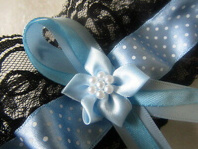 Dainty Dot Blue Ribbon Wedding Garter Black Lace Blue Ribbon & Blue Flower.