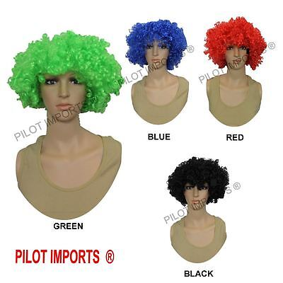 Black Blonde Pink Blue Red Orange Green Curly Afro Fancy Dress Funky Wig Clown