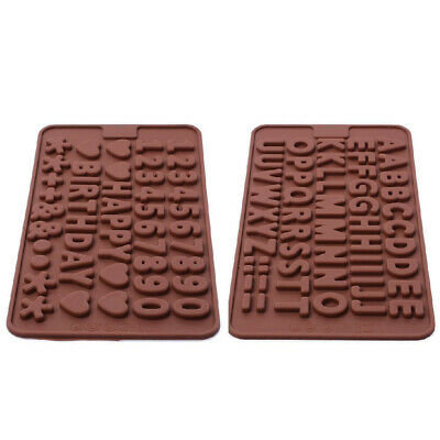 Set 2 Pack Silicone Alphabet Number Happy Birth day Fondant Mold candy Chocolate