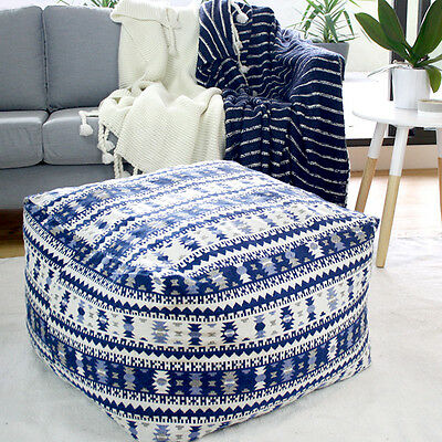 Extra Large OTTOMAN Beanbag Cover - Blue Aztec - Indoor Cushion, Footstool, Pouf