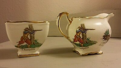 Le Vieux Canada Royal Winton Sugar & Creamer England 1953 Old Canada, numbered