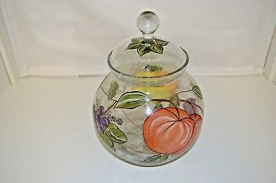 American Atelier Crackle Glass Cookie Jar with Hand Painted Pompeii Fruit Decor