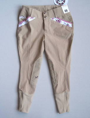 NEW EQUINE COUTURE Girls 8 Bindia Knee Patch Breeches Safari Tan/White