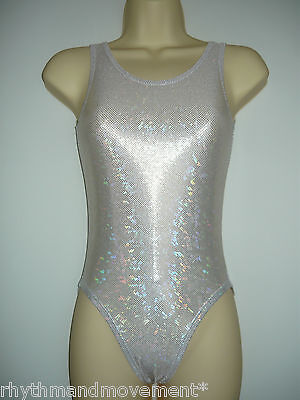 Leotard Silver Hologram Shattered Glass Lycra Adults X/S, S, M, L, X/L