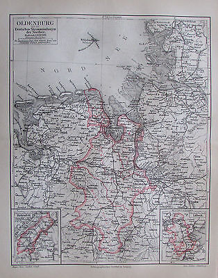 1888 OLDENBURG STROMMÜNDUNGEN NORDSEE historische Karte antique map Lithographie