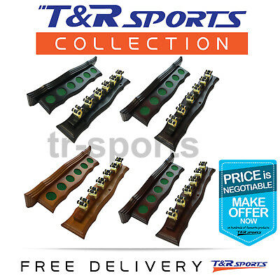 Wall Cue Rack with Brass Cue Clips for Pool Snooker Billiard Free Delivery