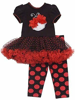 Rare Editions bambina Lady Bug Outfit Set tutù tunica top vestito + Leggings pan