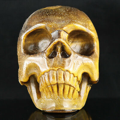 """2.19""""Gold Tiger's eye Carved Crystal Skull, Realistic,Crystal Healing,C7"""