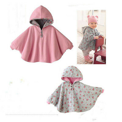 Baby Girl Boy Hooded Cloak Poncho Jacket Reversible Cotton Cape Coat Clothes