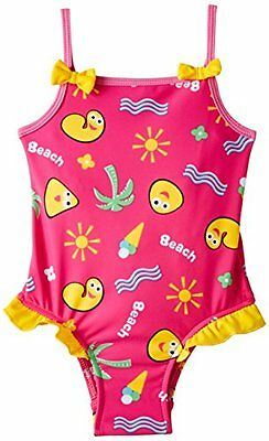 Rosa (Pink) (TG. 4 anni) CBeebies - CBeebies Girls Swimsuit with Frills, Costume