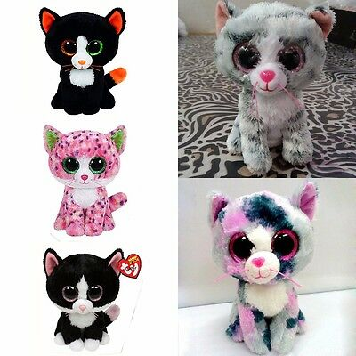 "6"" TY Beanie Boos Colorful Cat Series Glitter Eyes Plush Stuffed Toy Kid Gifts"