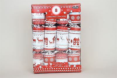 8 Luxury Christmas Crackers Reindeer And House Red White Vintage Table