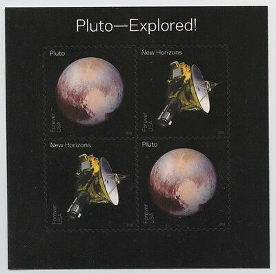 Pluto Explored minisheet of 4 stamps 2016 USA self-adh. New Horizons Spacecraft