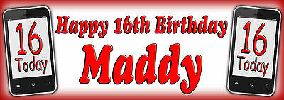 Any name /& Age banner Any occasion 2x Personalised Phone Birthday party banners