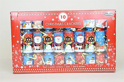 10 Luxury Fun Children Christmas Crackers Penguin Santa Blue Red Table