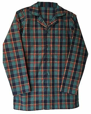 Mens 100% Cotton Long Sleeve Button Up Flannel Plaid Check Nightshirt Sleepwear