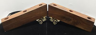 Arts & Craft Mission Era Wood & Brass Pair Set Candle Holders Candelabra Vintage