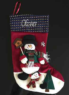 Luxury Personalised 3D Christmas Stocking  -Snowmen / Birdhouse -Free Embroidery