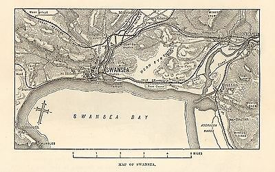 Antique Map, Wales, Swansea, Map Of Swansea Bay 1890